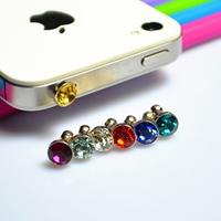 Kopfhöreranschluss Staubschutz-Stöpsel, Zinklegierung, Platinfarbe platiniert, mit Strass, gemischte Farben, frei von Nickel, Blei & Kadmium, 100PC/Menge, verkauft von Menge