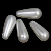 ABS-Kunststoff-Perlen Anhänger, Tropfen, weiß, 8x19mm, Bohrung:ca. 1mm, 2Taschen/Menge, ca. 830PCs/Tasche, verkauft von Menge