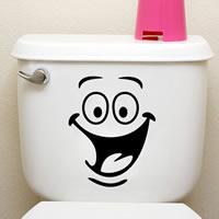 PVC Kunststoff WC-Aufkleber, Lächelndes Gesichte, Klebstoff, 220x180mm, verkauft von setzen