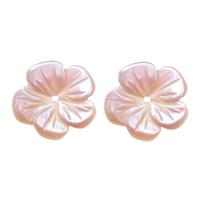 Natürliche Rosa Muschelperlen, Blume, 10x10x1mm, Bohrung:ca. 0.6mm, 30PCs/Menge, verkauft von Menge