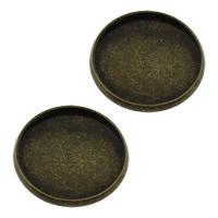 Messing Cabochon Einstellungen, flache Runde, antike Bronzefarbe plattiert, frei von Nickel, Blei & Kadmium, 22x2mm, Innendurchmesser:ca. 20mm, 200PCs/Menge, verkauft von Menge