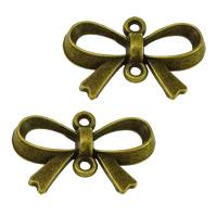 Schmetterling Zinklegierung Schmuckverbinder, Schleife, antike Bronzefarbe plattiert, 1/1-Schleife, frei von Nickel, Blei & Kadmium, 21.50x14x3mm, Bohrung:ca. 1.5mm, 500PCs/Menge, verkauft von Menge