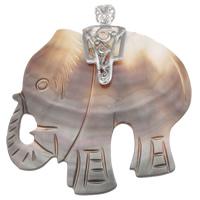 Natürliche schwarze Muschel Anhänger, mit Zinklegierung Stiftöse, Elephant, Platinfarbe platiniert, 55x58x8mm, Bohrung:ca. 5x8mm, 5PCs/Tasche, verkauft von Tasche