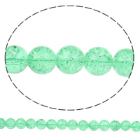 Knistern Glasperlen, Glas, rund, grün, 12mm, Bohrung:ca. 2mm, Länge:ca. 32.2 ZollInch, 10SträngeStrang/Tasche, verkauft von Tasche