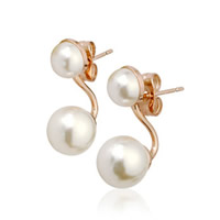 Zinklegierung Doppelt-Perlen -Band-Bolzen -Ohrring, mit ABS-Kunststoff-Perlen, Edelstahl Stecker, rund, Rósegold-Farbe plattiert, frei von Nickel, Blei & Kadmium, 10x23mm, verkauft von Paar