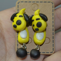 Polymer Ton Cartoon-Split-Ohrring, Edelstahl Stecker, Hund, handgemacht, 40mm, verkauft von Paar