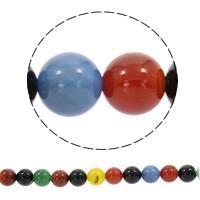 Natürliche Regenbogen Achat Perlen, rund, synthetisch, verschiedene Größen vorhanden, Bohrung:ca. 1mm, verkauft per ca. 19 ZollInch Strang