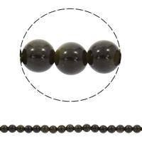Schwarzer Obsidian Perle, rund, synthetisch, 6mm, Bohrung:ca. 1mm, ca. 70PCs/Strang, verkauft per ca. 15.5 ZollInch Strang
