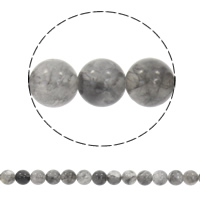schwarze Seide Stein Perle, rund, synthetisch, verschiedene Größen vorhanden, Bohrung:ca. 1mm, verkauft per ca. 15.5 ZollInch Strang