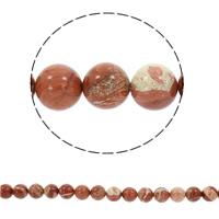 Jaspis Brecciated Perle, rund, synthetisch, verschiedene Größen vorhanden, Bohrung:ca. 1mm, verkauft per ca. 15 ZollInch Strang