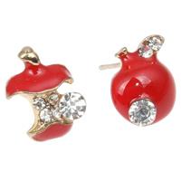 asymmetrische Ohrringe, Zinklegierung, Apfel, goldfarben plattiert, Emaille & mit Strass, keine, frei von Nickel, Blei & Kadmium, 11x10mm, verkauft von Paar