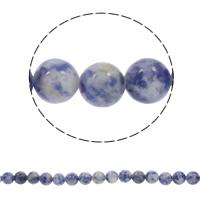 Blauer Tupfen Stein Perlen, blauer Punkt, rund, synthetisch, verschiedene Größen vorhanden, Bohrung:ca. 1mm, verkauft per ca. 15 ZollInch Strang