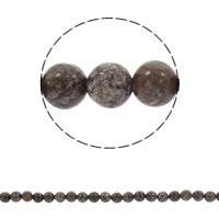 Schneeflocke Obsidian, rund, synthetisch, verschiedene Größen vorhanden, Kaffeefarbe, Bohrung:ca. 1mm, verkauft per ca. 15.5 ZollInch Strang