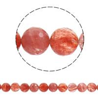 Kirsche Quarz Perle, rund, synthetisch, verschiedene Größen vorhanden & facettierte, Bohrung:ca. 1mm, verkauft per ca. 15 ZollInch Strang