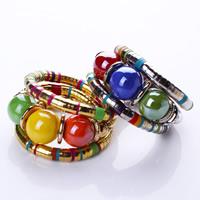 Memory Wire Armband, Zinklegierung, mit Acryl, mit Verlängerungskettchen von 5cm, plattiert, Bohemian-Stil & 3-Strang & Emaille, keine, frei von Nickel, Blei & Kadmium, 40mm, verkauft per ca. 6.5 ZollInch Strang