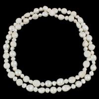 Süßwasserperlen Pullover Halskette, Natürliche kultivierte Süßwasserperlen, Barock, natürlich, unterschiedliche Länge der Wahl, weiß, 7-8mm, 10-11mm, verkauft von Strang