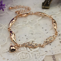 Zinklegierung Armband, mit Verlängerungskettchen von 5cm, Fuchs, Rósegold-Farbe plattiert, mit Strass, frei von Nickel, Blei & Kadmium, 155mm, verkauft per ca. 6 ZollInch Strang