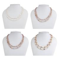 Natürliche Süßwasser Perle Halskette, Natürliche kultivierte Süßwasserperlen, mit Glas-Rocailles, Barock, unterschiedliche Länge der Wahl, keine, 7-8mm, verkauft von Strang