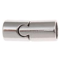 Messing Magnetverschluss, Zylinder, Platinfarbe platiniert, frei von Nickel, Blei & Kadmium, 21x9mm, Bohrung:ca. 7mm, verkauft von PC
