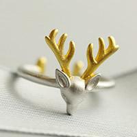 Weihnachten Finger Ring, Messing, Hirsch, plattiert, zweifarbig, 3-8mm, Größe:5, verkauft von PC