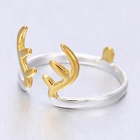 Weihnachten Finger Ring, Messing, Geweihe, plattiert, zweifarbig, 10-15mm, Größe:5, verkauft von PC