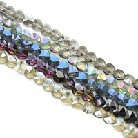 Herz Kristallperlen, Kristall, bunte Farbe plattiert, facettierte, mehrere Farben vorhanden, 10x10x7mm, Bohrung:ca. 1mm, ca. 70PCs/Strang, verkauft per ca. 29 ZollInch Strang