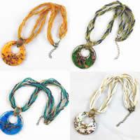 Lampwork Halskette, mit Nylonschnur & Glas-Rocailles & Zinklegierung, mit Verlängerungskettchen von 5cm, flache Runde, handgemacht, Goldsand, keine, 30-50mm, verkauft per ca. 16.5 ZollInch Strang