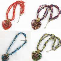 Lampwork Halskette, mit Nylonschnur & Glas-Rocailles & Zinklegierung, mit Verlängerungskettchen von 5cm, handgemacht, Goldsand, keine, 30-40mm, verkauft per ca. 16.5 ZollInch Strang