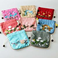 Geldbörse, Leinen- Baumwolle, mit Gewachsten Baumwollkordel & Holz, Rechteck, gemischte Farben, 125x120mm, 10PCs/Tasche, verkauft von Tasche