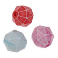 Chemische Wash Acryl Perlen, Trommel, chemische-Waschanlagen & facettierte, gemischte Farben, 10mm, Bohrung:ca. 1mm, 2Taschen/Menge, ca. 870PCs/Tasche, verkauft von Menge