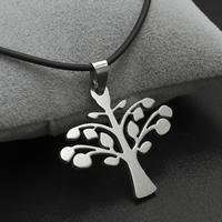 Baum des Lebens-Halskette, Edelstahl, mit Gummiband, Eisen Karabinerverschluss, mit Verlängerungskettchen von 4cm, originale Farbe, 33x31x2mm, verkauft per ca. 17 ZollInch Strang