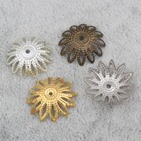 Eisen Perlenkappen, Blume, plattiert, keine, frei von Nickel, Blei & Kadmium, 18x4mm, Bohrung:ca. 1mm, 2000PCs/Tasche, verkauft von Tasche