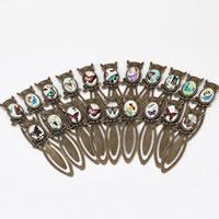 Zinklegierung Lesezeichen, mit Glas, Eule, antike Bronzefarbe plattiert, Schmetterlingsdesign & gemischtes Muster, frei von Nickel, Blei & Kadmium, 21x78x6mm, 10PCs/Menge, verkauft von Menge