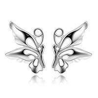 Messing Ohrstecker, Schmetterling, versilbert, frei von Nickel, Blei & Kadmium, 8x9mm, verkauft von Paar