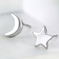 asymmetrische Ohrringe, Messing, Mond und Sterne, versilbert, frei von Nickel, Blei & Kadmium, 5-6mm, verkauft von Paar