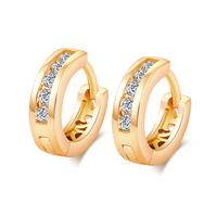 Gets® Schmuck Ohrring, Messing, Kreisring, 18 K vergoldet, Micro pave Zirkonia, frei von Nickel, Blei & Kadmium, 4x13mm, verkauft von Paar