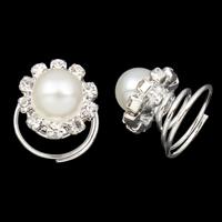Haar Spinner, Zinklegierung, mit ABS-Kunststoff-Perlen & Eisen, Blume, silberfarben plattiert, mit Strass, frei von Nickel, Blei & Kadmium, 14x14mm, 120PCs/Tasche, verkauft von Tasche