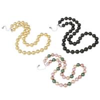 Südsee Muschel Halskette, Messing Karabinerverschluss, mit Verlängerungskettchen von 4cm, rund, keine, 10-11mm, verkauft per ca. 17 ZollInch Strang