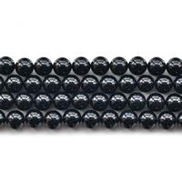 Natürliche schwarze Achat Perlen, Schwarzer Achat, rund, verschiedene Größen vorhanden, Bohrung:ca. 1mm, verkauft per ca. 15.5 ZollInch Strang