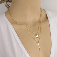 Mode-Multi-Layer-Halskette, Zinklegierung, mit Eisenkette, mit Verlängerungskettchen von 5cm, goldfarben plattiert, 3-Strang, frei von Nickel, Blei & Kadmium, 40cm, Länge:ca. 15.5 ZollInch, 3SträngeStrang/Tasche, verkauft von Tasche