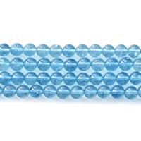 Knistern Quarz Perlen, rund, verschiedene Größen vorhanden, hellblau, Bohrung:ca. 1mm, verkauft per ca. 15.5 ZollInch Strang