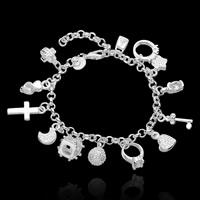 comeon® Schmuck Armband, Messing, versilbert, Armband  Bettelarmband & mit kubischem Zirkonia, frei von Nickel, Blei & Kadmium, 5.5x17mm,8.5x13mm,11x14mm,9x13mm,10x11.5mm, verkauft per ca. 7.5 ZollInch Strang