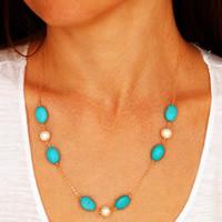 Eisen Halskette, mit ABS-Kunststoff-Perlen & Synthetische Türkis, goldfarben plattiert, Oval-Kette, frei von Nickel, Blei & Kadmium, 45cm, Länge:ca. 17.5 ZollInch, 3SträngeStrang/Tasche, verkauft von Tasche