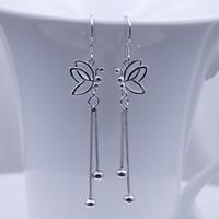 Messing Dangle Ohrring, Schmetterling, versilbert, frei von Nickel, Blei & Kadmium, 12x60mm, verkauft von Paar