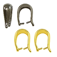 Messing Anhängerschlaufe, plattiert, keine, frei von Nickel, Blei & Kadmium, 5x14x9mm,1mm, 100PCs/Tasche, verkauft von Tasche