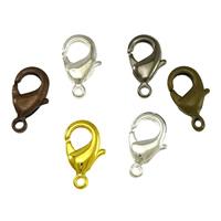 Messing Karabinerverschluss, plattiert, keine, frei von Blei & Kadmium, 9x15x3.50mm, Bohrung:ca. 1mm, 500PCs/Tasche, verkauft von Tasche