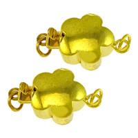 Messing Schnappschließe, Blume, goldfarben plattiert, Einzelstrang, frei von Nickel, Blei & Kadmium, 15x10x6mm, Bohrung:ca. 2mm, 100PCs/Menge, verkauft von Menge