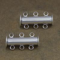 Messing Schiebeverschluss, Zylinder, silberfarben plattiert, 3-Strang, frei von Nickel, Blei & Kadmium, 20x10x7mm, Bohrung:ca. 2mm, 100SetsSatz/Menge, verkauft von Menge