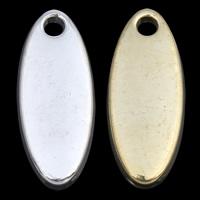 Zinklegierung flachovale Anhänger, plattiert, keine, frei von Nickel, Blei & Kadmium, 7x17x1mm, Bohrung:ca. 1mm, verkauft von PC