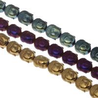 Buddhistische Perlen, Non- magnetische Hämatit, Buddha, plattiert, buddhistischer Schmuck, keine, 10x9x7mm, Bohrung:ca. 1mm, Länge:ca. 15.5 ZollInch, 10SträngeStrang/Tasche, ca. 39PCs/Strang, verkauft von Tasche